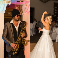 Johnny 'Blue Hat' Davis the saxophonist and the bride enjoying herself at Ramside Hall. House of Sax Experience via AMV Live Music.
